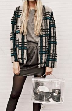 Checked coat and transparent bag