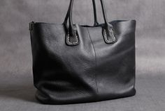 Handmade Leather black tote bag for women leather shoulder bag handbag | EverHandmade