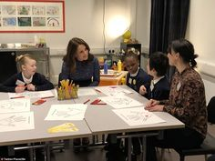 The Duchess joined children from Albion Primary school in the replica Place2Be Room where they're able to think, talk and make art on the subject of what makes a good friend with their Place2Be counsellor
