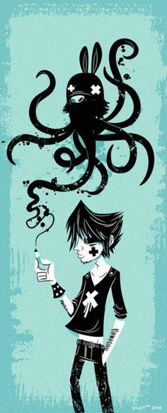 I think I ate something funny by cronobreaker on DeviantArt Monster Illustration, Digital Illustration, Graphic Illustration, Vector Illustrations, Graffiti Characters, Vector Characters, Amazing Art, Cool Art, Street Art