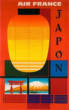 Air France, Japan, Japon - vintage travel poster