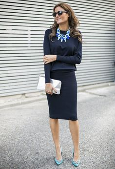 Accessories are a great way to add color to your outfit for a trendy business casual office  |  Follow Rita and Phill for more inspiration and ideas on the latest skirt fashion! https://www.pinterest.com/ritaandphill/trendy-office-outfits/