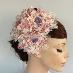 Summer Cocktail Hat Organza Floral Hair Fascinator by mammamiaeme, $46.00