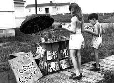 young entrepreneur selling comic books in oak ridge, tn. side note: i want that little girl's romper.