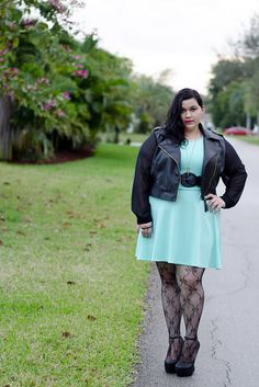 Kirstin Marie in mint green dress ,faux leather moto jacket, bow tights, & heel less heels all from Deb Shops by Kirstin Marie, via Flickr