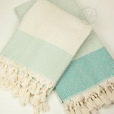 Diamond Stripe Peshtemal  Turkish Towel Beach Towel by hipsbazaar  MINT STYLE! Color of spring and peace!