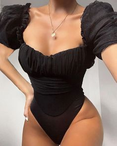 Cryptographic Square Collar Sexy Hollow Out Mesh Bodysuit Women Tops See Through Fashion Party Club Puff Sleeve Black Bodysuits Black Overalls, Overalls Women, Black Romper, Black Bodysuit, Mesh Bodysuit, Womens Bodysuit, Bodysuit Tops, Bodysuit Dress, Bodysuit Fashion
