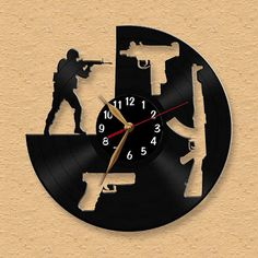 I love weapons / CS:GO - Vinyl Record Clock / Counter Strike Weapon Wall Clock