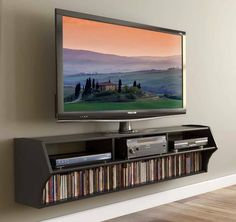 Furniture , Cool TV Stand Choices : Wall Mounted Cool TV Stand With Dvds Storage