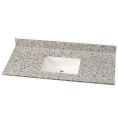 MSI 49 in. W Granite Single Vanity Top in Blanco Taupe with White Sink - The Home Depot Granite Vanity Tops, Granite Tops, China Bowl, Master Bath Remodel, Bathroom Vanity Tops, White Sink, High Gloss, Basin, Taupe
