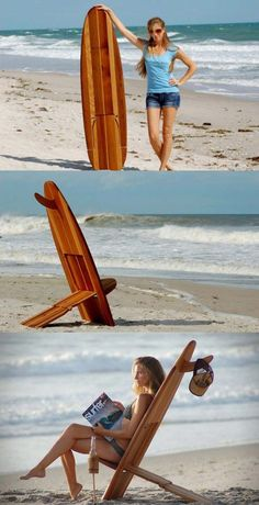 Surfboard chair for the porch or beach! Beach Bum, Summer Beach, Summer Fun, Best Beach Chair, Beach Chairs, Nautical Furniture, Cool Furniture, Custom Furniture, Outdoor Garden Furniture