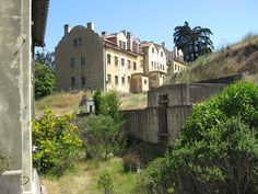 """1910-1940 Angel Island, San Francisco, California - An immigration station, the """"""""Ellis Island of the West"""", operated from 1910-1940 on Angel Island, an island only accessible by boat.  Approximately 175,000 immigrants, mostly Chinese, passed through the station.  It was used as a POW holding station during WWII."""