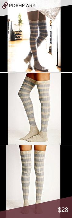 Free People taupy gray blue Knee Thigh High Socks Free People taupy gray & muted blue Hideaway Stripe Over The Knee Thigh High Socks Get the look of tights without an uncomfortable waistband in over-the-knee socks  feature a striped ribbed s knit and stay-put ribbed cuffs. New With Tags  *  One Size   98% polyester * 2% spandex   Machine Wash Cold  Check out my other items! Be sure to add me to your favorites list! Free People Accessories Hosiery & Socks