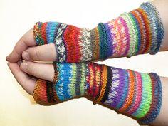 Knit Fingerless gloves Knitted Fingerless Mittens Long Arm