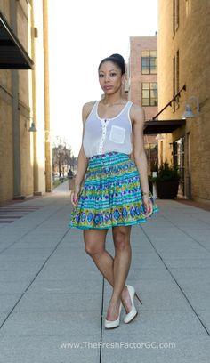 Reworked Vintage Skirt. Sheer Top. Spring Day.