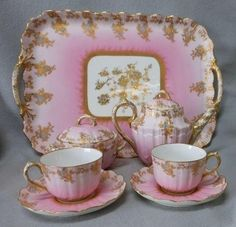 Pink Tea Service with Tray Vintage Dishes, Vintage China, Vintage Tea, Teapots And Cups, Teacups, China Tea Cups, Tea Service, My Cup Of Tea, Coffee Set