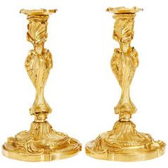 18th Century Pair of French Bronze Gilded Candlesticks