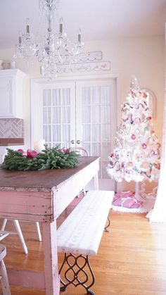 white lace cottage holiday christmas home tour shabby chic-07893