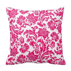 Shop Hot Pink Damask Throw Pillow created by SweetRascal. Black Throw Pillows, Pink Pillows, Decorating Your Home, Interior Decorating, Pink Damask, Custom Pillows, Hot Pink, Tapestry, Make It Yourself