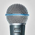 """Shure SM58 vocal microphone is designed for professional vocal use in live performance, sound reinforcement, and studio recording. Its tailored vocal response for sound is a world standard for singing or speech. A highly effective, built-in spherical filter minimizes wind and breath """"pop"""" noise. A unidirectional (cardioid) pickup pattern isolates the main sound source while minimizing unwanted background noise.      Rugged construction, a proven shock-mount system with a steel mesh grille."""