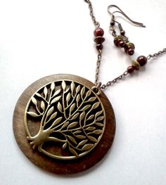 Brass and Wood Tree of Life Necklace Set by PinkCupcakeJC on Etsy, $13.00
