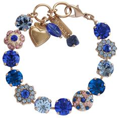 Mariana Rose Goldtone Large Round Floral Crystal Bracelet, 7' 'Kiss from a Rose' Blue Pink 4259 1068mr >>> Read more reviews of the product by visiting the link on the image. (This is an affiliate link) #Bracelets