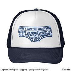 Captain Underpants | Typography Tighty Whities Trucker Hat. Producto disponible en tienda Zazzle. Accesorios, moda. Product available in Zazzle store. Fashion Accessories. Regalos, Gifts. #gorra #hat