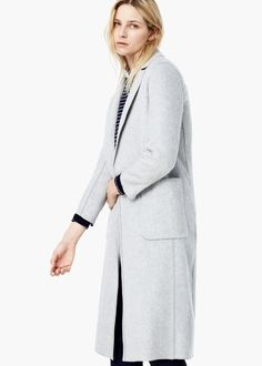 Wool straight-cut coat