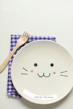 Bunny Plate - Dollar Tree Plate - Sharpie Markers - Cold Oven Heat to 350 and Bake for 30 Minutes. - Hand Wash - Cute!