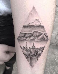 Vineyard Landscape Tattoo by Max Lesquatt Landscaping Around Trees, Landscaping Near Me, Body Art Tattoos, I Tattoo, Cool Tattoos, Geometric Mountain, Geometric Tattoo Design, Landscape Tattoo, Mountain Designs