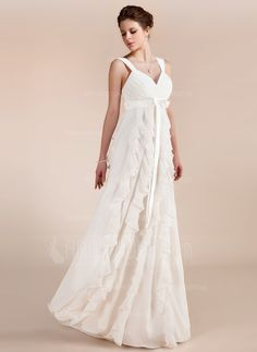 Wedding Dresses - $169.99 - Empire Sweetheart Floor-Length Chiffon Charmeuse Wedding Dress With Bow(s) Cascading Ruffles (002011682) http://amormoda.com/Empire-Sweetheart-Floor-length-Chiffon-Charmeuse-Wedding-Dress-With-Bow-S-Cascading-Ruffles-002011682-g11682