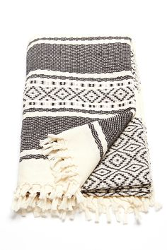 Ixchel Beach Blanket by Wax + Cruz. 100% cotton beach blanket handwoven by master-artisans in Mexico. This unique piece does perfect double duty as a wrap, towel, or home textile. - Fair-trade - Handw