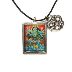 "Kali, Hindu Deity Full Color Pendant on Cord Necklace Creative Ventures Jewelry. $12.99. Story Card Included with Pendant. Pendant is 1"" Tall x 3/4 "" Wide. Kali Full Color Pendant. Mini ""OM"" Pendant Included"