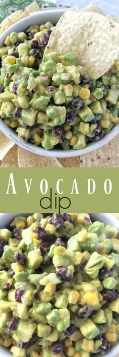 Avocado Dip   avocados, corn, black beans combine to make the perfect dip or appetizer! www.togetherasfamily.com