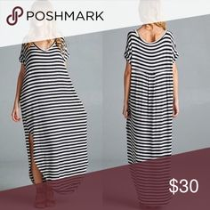 Maxi dress- never worn Adorable boutique stripes maxi dress with slits on the sides- flowy so it runs a little big. Size M, could fit a Med/Large. Super comfy and soft Material. Never worn ! All prices negotiable- please make an offer Dresses Maxi