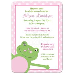 Leap Frog Baby Shower Invitation - Pink