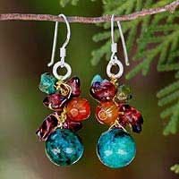 pretty earrings to go with almost anything! Garnet and carnelian cluster earrings, 'Tropical Orchard' from Thailand through Novica