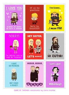 Brace yourself... Valentine's Day is coming! Check out this set of clever cards by artist Chris Bishop    #valentinesday #valentine #gameofthrones
