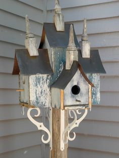 Coffee can birdhouse, whimsical birdhouse, funnel roof, red, vintage on