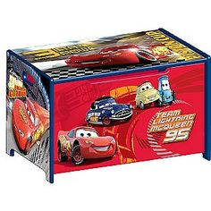 Disney Cars Room - Toy Box - Kmart $49.99 Disney Cars Room, Disney Cars Party, Disney Rooms, Car Party, Disney Nursery, Car Bedroom, Boys Bedroom Decor, Bedroom Ideas, Cars Toy Box