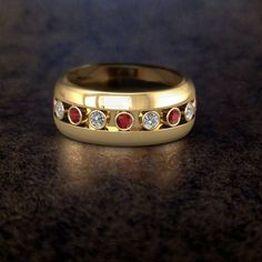 Yellow Gold Channel Set Ruby and Diamond Mens Wedding Ring