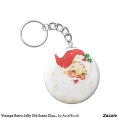 Vintage Retro Jolly Old Santa Claus Christmas Keychain