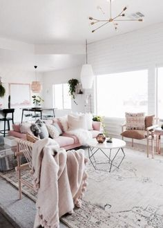 at first blush: ideas for decorating with pale pink | classic sofa