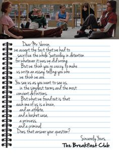 Dear Mr. Vernon letter from the Breakfast Club. Movie changed the way I looked at life!
