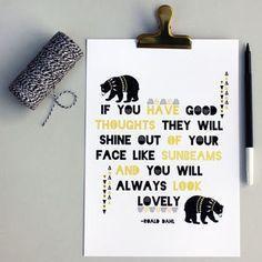 Scandinavian Roald Dahl 'Good Thoughts' Quote Print