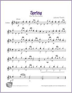 Spring (Four Seasons) | Free Sheet Music for Easy Guitar Solo