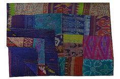 Vintage Twin Size Kantha Quilt Reversible Throw Ralli Indian Patola Silk Bedding