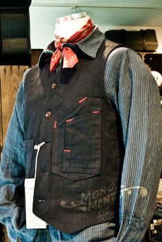 Duke & Sons Leather inspiration Denim vest and hickory-striped shirt at Duke & Sons Leather Duke Shirts, Gilet Costume, Mens Designer Shirts, Designer Clothing, Estilo Denim, Rugged Style, Vintage Denim, Mode Style, Men Looks