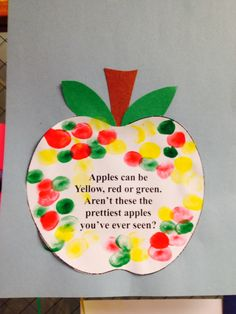 Make this craft while applesauce is cooking. Use small cork tops, when dry glue on poem. Preschool Apple Theme, Fall Preschool, Preschool Projects, Daycare Crafts, Classroom Crafts, Preschool Activities, Seeds Preschool, Preschool Apples, September Crafts