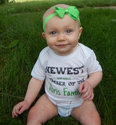 Newest and Coolest Member Of the YOUR LAST NAME Family Show off your newest and coolest addition with the custom last name baby bodysuit, baby t-shirt, or toddler shirt.